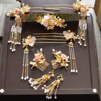 2017 新透明花の房 hairsticks 櫛中国花嫁のウェディングヘッドドレス宝冠衣装ショー結婚式のヘアアクセサリー