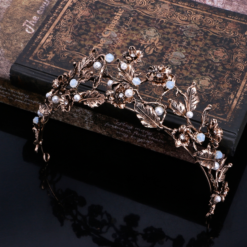 Vintage Wedding Queen Crown Tiara Baroque Flower Pageant Bridal Headband Jewelry