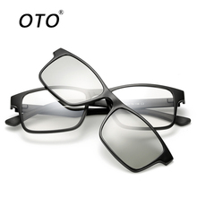 OTO Brand Design Clip 3D Sunglasses Men Polarized Rectangle Driving Glasses TR90 Removable Glasses Frame Vintage Eyewear TR2247