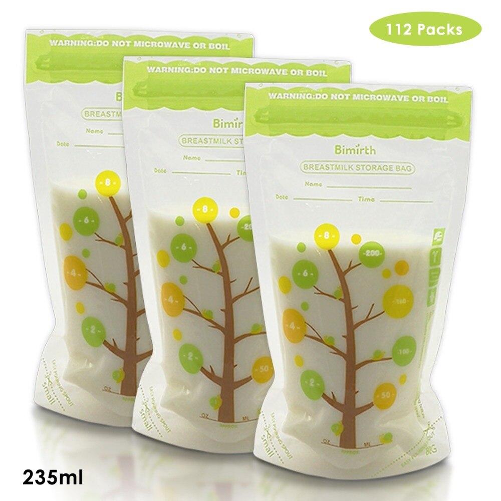 112Pcs 235ml Milk Freezer Bags Mother Milk Baby Food Storage Breast Milk Storage Bag Baby Safe Feeding Container Bags