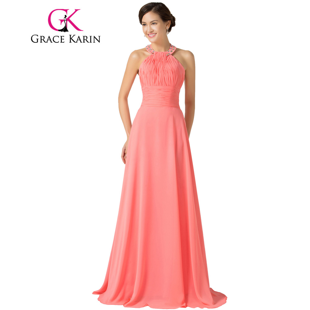 Grace Karin Halter Chiffon Watermelon Long Bridesmaid Dresses 2018 ...