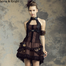 Womens Vintage Black and Brown Lace-up Steampunk Waist Cincher Corset Top SP140CF