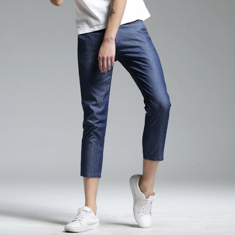 SEAUSLIM Spring Summer Men's Cropped Jeans Elastic Pants for Teenagers Fshion Tailored Trousers Ankle-Length Pant LQ-XKF-16