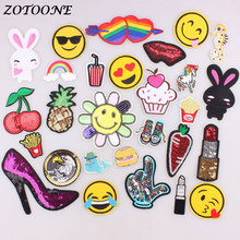 ZOTOONE Sequin Patch Pineapple Cherry Embroidered Iron on for Clothing Rainbow Emoji DIY Stripes Clothes Sticker Appliques