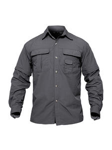 TACVASEN Hiking Shirt Military Outdoor Quick-Dry Men with Pockets Hunting Removable