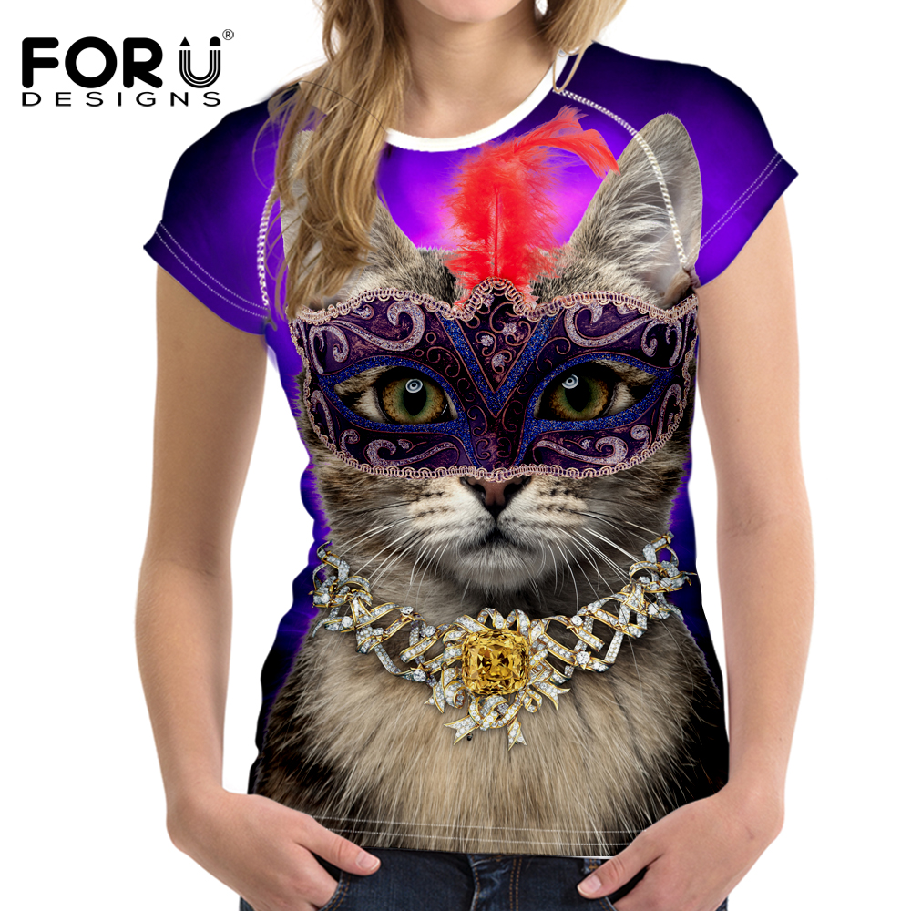 d300a34e582c FORUDESIGNS Brand Women Clothing Summer T-Shirt Femme Sexy Cat Wear Mask  print T Shirts Ladies O Neck Quick Dry Tees Plus Size