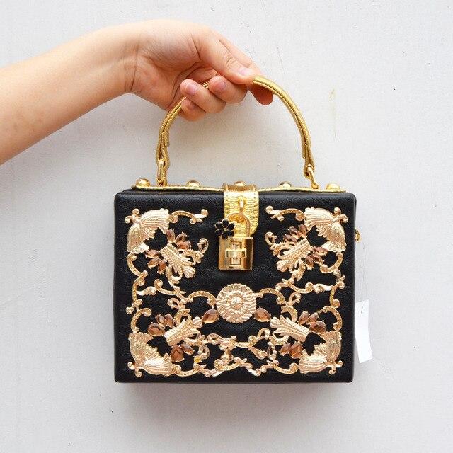 Кристалл люкс Партия сцепления Вечерняя сумочка Magic Box Мини Чемодан замок ретро мода дизайн щитка женщин сумка Черная сумка на плечо