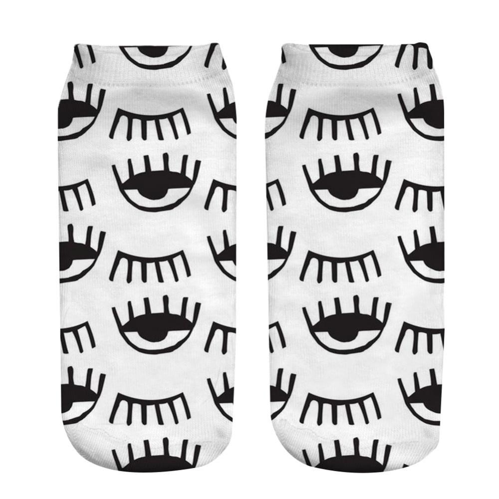 1 Pair 3D Socks 19x8CM 3d Sexy Eyes Printed Short Socks Spring Summer Low Ankle Socks Unisex Cotton Blend Polyster Socks