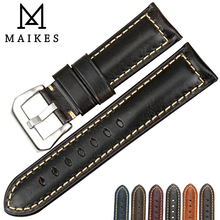 MAIKES Handmade Quality Watchband Oil Wax Leather Watch Strap 20mm 22mm 24mm 26mm Accessories Band For Panerai