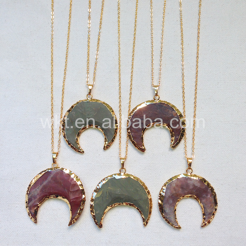WT N654 Natürliche stein halskette raw indische stein halskette schmuck halben mond crescent indische stein halskette-in Anhänger-Halsketten aus Schmuck und Accessoires bei  Gruppe 1