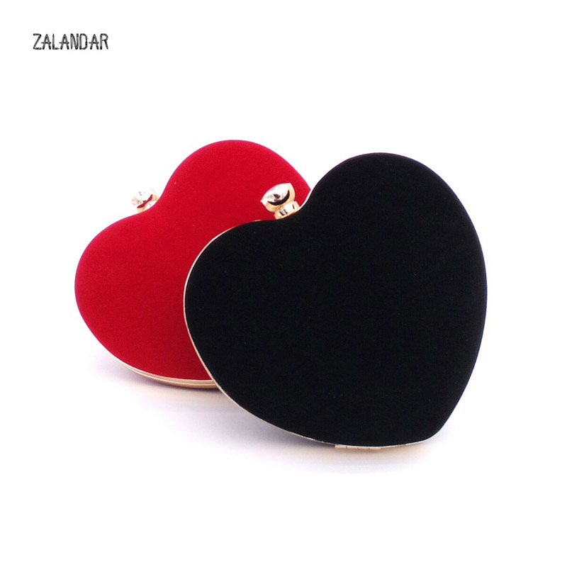 Women Evening Bags Heart Shaped Diamonds Red Black Chain Shoulder Purse Day Clutches Evening Bags