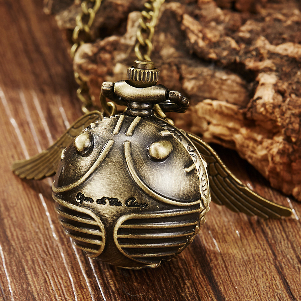 Retro Harry Potter Necklace Clock Pocket Watch Vintage Snitch Gold Ball Silver Bronze Fob Chain Watch Men Women relogio de bolso zrm 20pcs lot wholesale fashion jewelry vintage charm potter golden snitch necklace for men and women