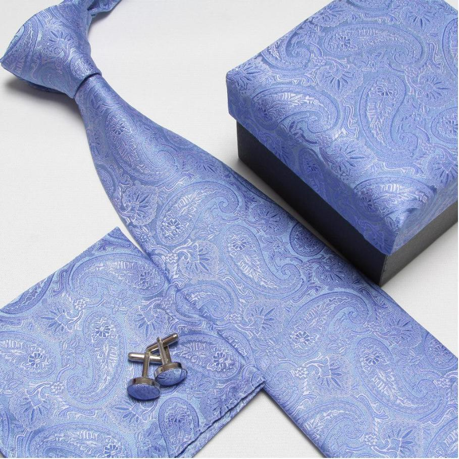 2019 men s fashion high quality neck tie set neckties cufflinks hankies silk ties cuff links