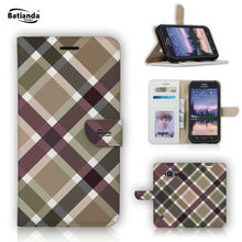 Wallet PU Leather Flip Case for Samsung Galaxy S6 Active 5 1 Classical Tartan Pattern Print