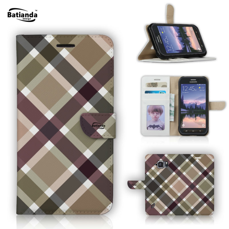 Wallet PU Leather Flip Case for Samsung Galaxy S6 Active 5 1 Classical font b Tartan