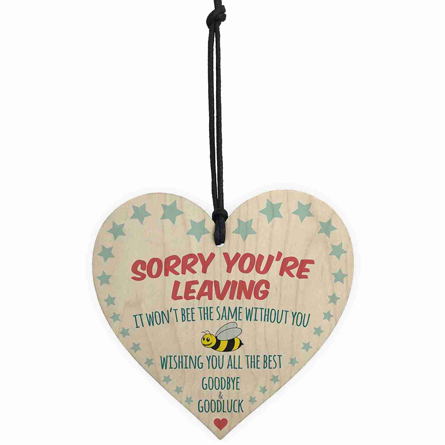 253ab2f006bc HOT SALE Sorry You re Leaving Wooden Hanging Heart Cute Funny Work Colleague  Leaving Gift