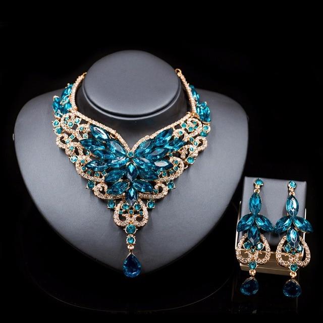 Fashion Indian Jewelry Set Dubai Crystal Necklace Earrings