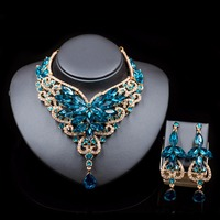Fashion Indian Jewelry Set Dubai Crystal Necklace Earrings Bridal Jewelry Sets For Brides Party Wedding Accessories