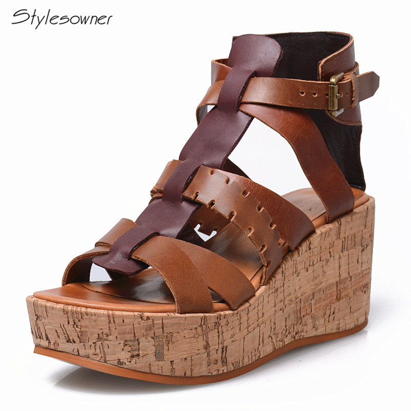 Prova Perfetto Sexy Platform Wedges Women T-Strap Heels Sandals Brown Patchwork Fretwork Heels Sandals Summer Peep Toe Platform