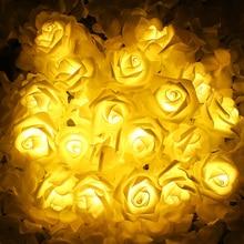 2 м 20 светодиодный на батарейках Праздничная Светодиодная лампа с розами сказочные гирлянды для свадебного сада вечерние рождественские украшения вечерние