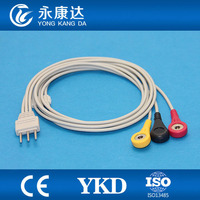 PC 6000 Telemetry 3 lead PLUG din2.0 3pin Holter ECG cable with leadwires
