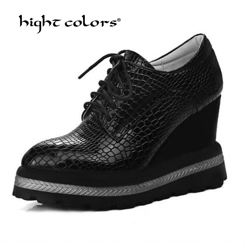 New Brogues Women Platform Shoes Lace Up Creeper Oxford Fashion Wedge Shoes For Women Wingtip College