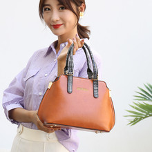 купить 2019 Famous brand designer handbag women fashion Red tote bag high quality Oil Wax leather shoulder bag ladies office Shell bags по цене 1039.44 рублей