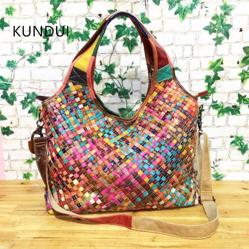 KUNDUI Star Brand Genuine Leather handbag for women Hand-woven handbags women's pouch bolsas shoulder bag female messenger bags