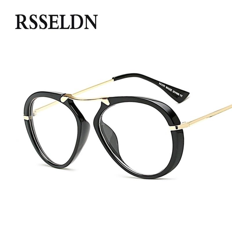 RSSELDN Marque Lunettes Rondes Cadres Femmes De Mode Unisexe lunettes Clair  Optique Lunettes Cadre oculos Vintage Lunettes f5fe1ba8ccc3