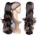 Длинные Волнистые Хвост Наращивание Волос Светлые Волосы Подчеркивает Коготь на Хвост