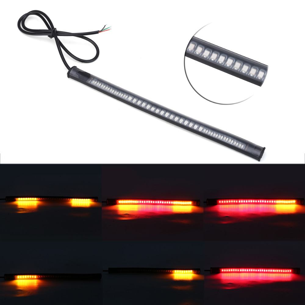 Auto-Styling Universele Flexibele 12 V 48 LED SMD Strip Richtingaanwijzer Motorfiets Rem Stop Signaal Licht Motorfiets Accessoires