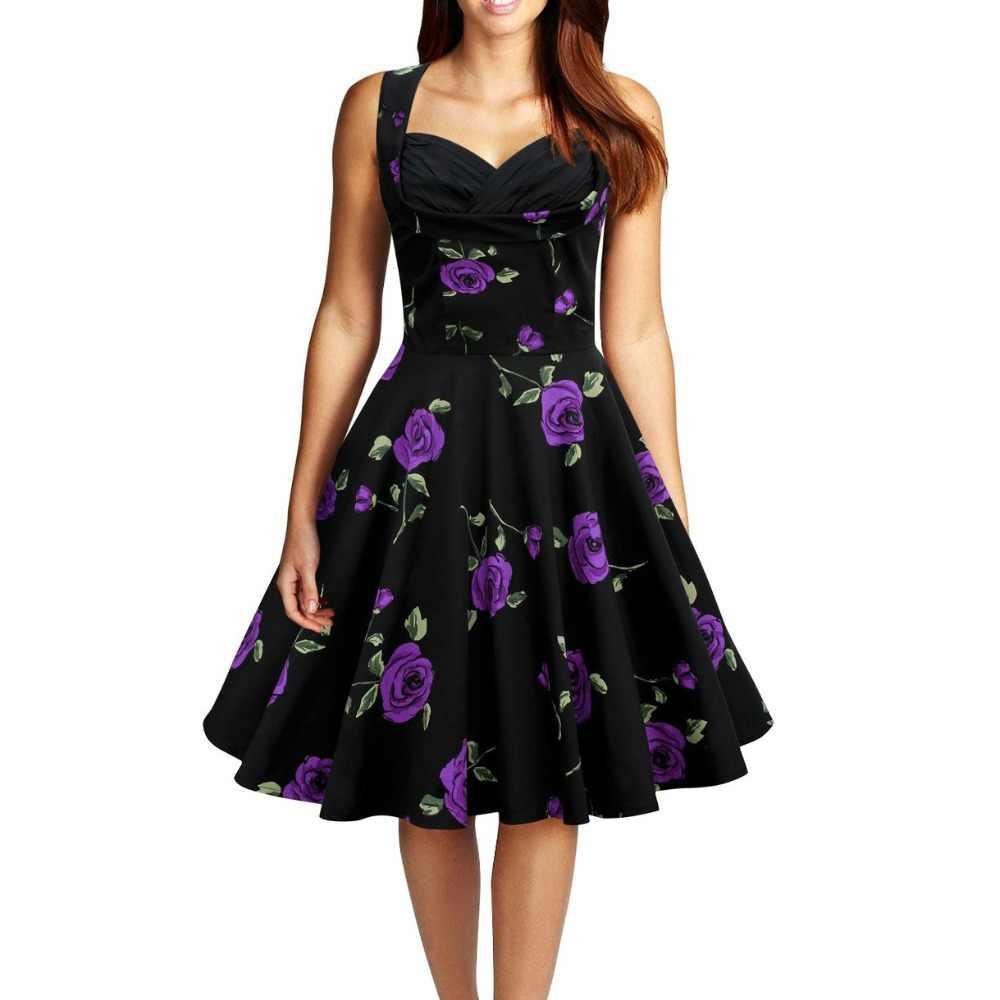 אודרי הפבורן סגנון בציר שרוולים הדפסת כדור שמלת כותנה שמלת vestidos robe נשים המפלגה רוקבילי מזדמן 50s 60s שמלות