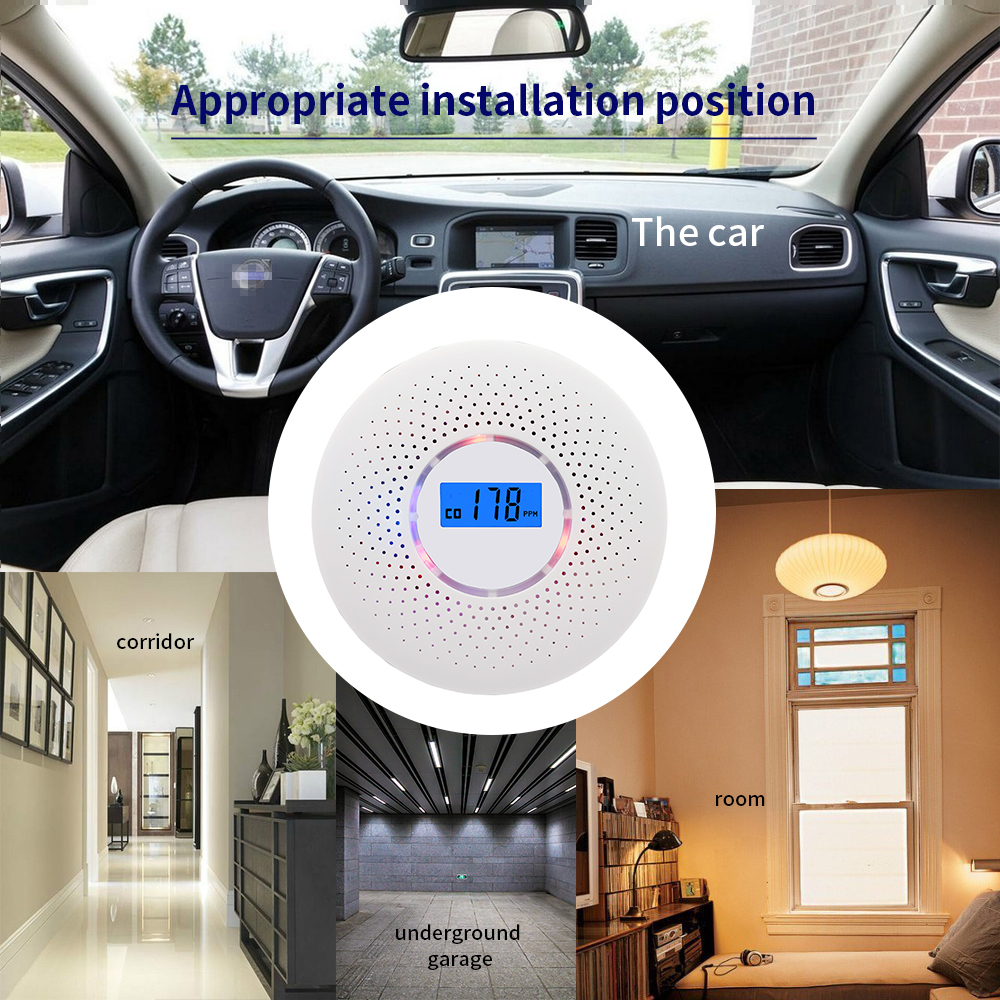 Home Safety CO Carbon Monoxide Sensitive Photoelectric Smoke Detector Poisoning Gas Fire Carbon Monoxide Smoke Alarm Detector