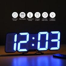 Mur horloge de bureau 3D sans fil à distance numérique rvb LED réveil USB alimenté 115 couleur 3 niveaux luminosité contrôle du son