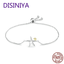 DISINIYA Romantic Genuine 925 Sterling Silver Starfish Fairy Tale Women Chain Link Bracelet Luxury Jewelry SCB02