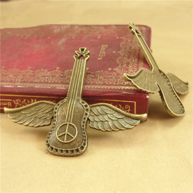 RONGQING 20pcs/lot Antique Bronze Peace Sign Guitar Charms Angel Guitar Pendant DIY 54*63MM