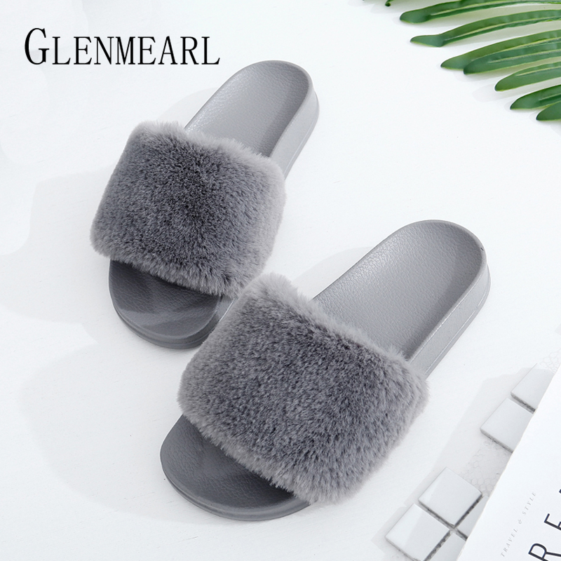 Women Slippers Fur Shoes Winter Slip On Home Slippers Woman Casual Shoes Flat Flip Flops Fashion Female Slides Plush Warm DE