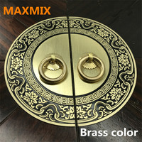 MAXMIX 11 24cm Chinese Antique Handles For Furniture Pattern Pure Copper Door Handle Cabinet Knobs And