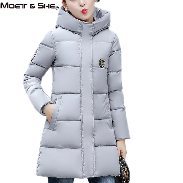New Winter Womens Down Cotton Jacket Hooded Parkas Badge Patch Stand Collar Winter White Outwear Coat Clothes C6O251R
