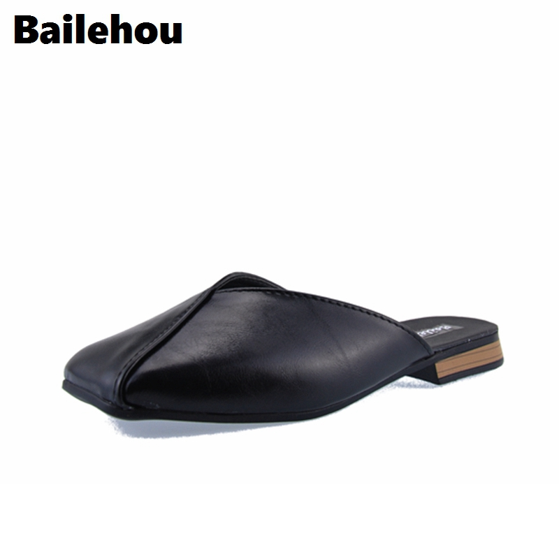 Bailehou Fashion Women Slippers Slip On Mules Shallow Flat Shoes Square Low Heel Women Work Shoes Casual Slides Ladies Loafers