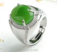 925 Silver Natural Genuine HeTian Yu Lucky Ring + certificate Green Yu man Rings adjustable Fashion Jewelry