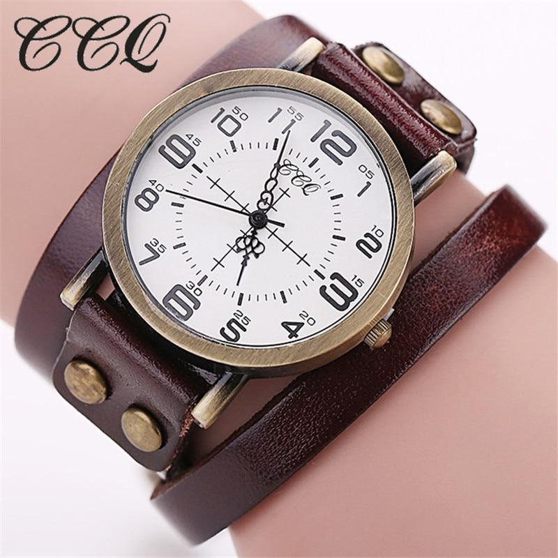 CCQ Vintage Cow Leather Bracelet WristWatch Luxury Casual Women Quartz Watch Relogio Feminino