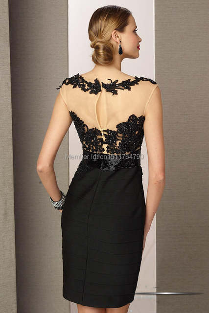 95ac8a8d3248 Classy Custom Made Satin Short Mini Black Lace Appliqued Women Cocktail  Dresses 2014 New Fashion robe