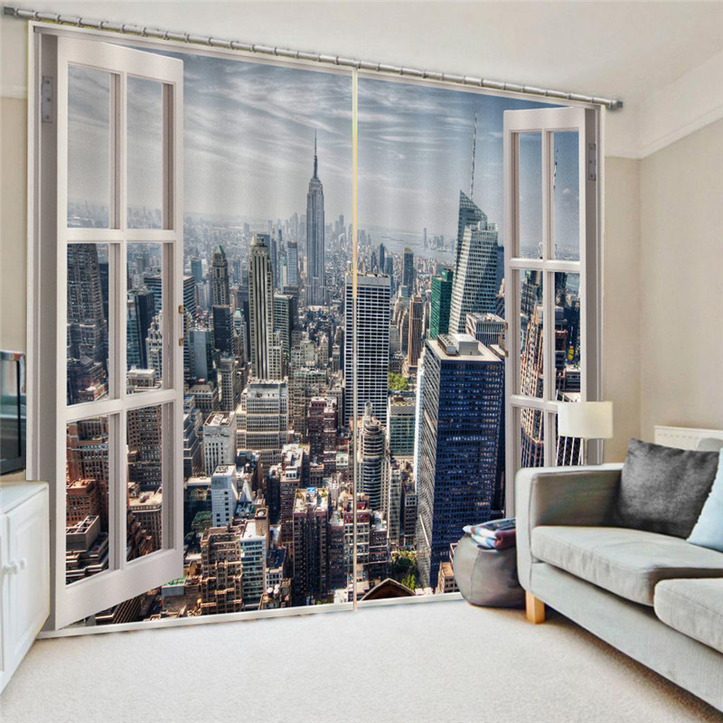 Modern City Curtains With Pearls Luxury 3D Window Curtains Living Room Wedding Bedroom Cortinas Drapes Customized Size Oc26
