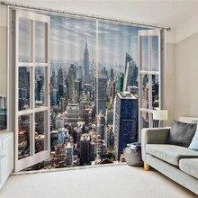 Cortinas de janela 3d modernas da cidade, com pérolas, luxuosas, cortinas de janela, sala de estar, quarto, casamento, tamanho personalizado oc26