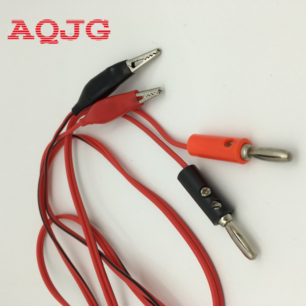 цена на 4mm Injection Banana Plug To Shrouded Copper Electrical Clamp Alligator Clip Test Cable Leads 1M For Testing Probe AQJG