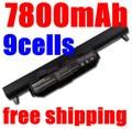 7800MAH 9cells Laptop Battery for ASUS K45 K45D K45V K55 K55A K55D K55V K75 R400 R500 R700 U57 X45 X55 X75 A41-K55 A33-K55