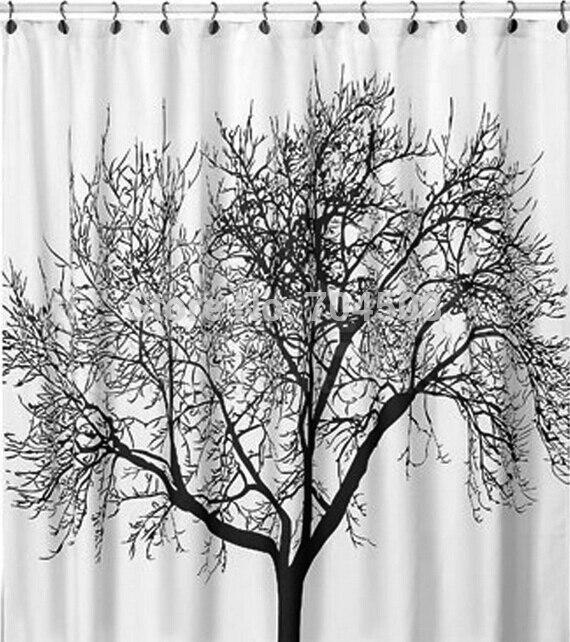 FD1635 Black Tree White Fabric Bathroom Shower Curtain Liner + Hooks  Polyester(China (Mainland