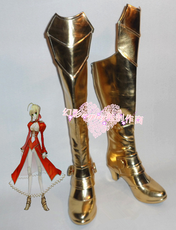 custom-made anime Fate/stay Night Cosplay Saber Gold Cosplay Boots shoes for Halloween Christmas festival