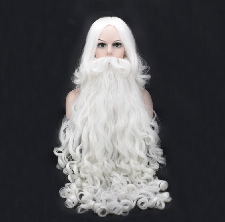 80 cm Lang Weihnachten Kostüme Weihnachtsmann Perücke und Bart Synthetische Haar Kurze SantaClaus Weihnachtsgeschenk Cosplay Perücken